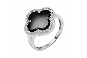 """Серебряное кольцо """"Клевер"""" (10353ч)"""