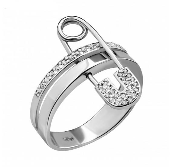 """Серебряное кольцо """"Булавка"""" (10555) - 1"""